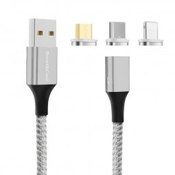 Universal Nylon Braided Magnetic Android iPhone Charging Cable Fit for Type C Micro USB 8pin Ports - Silver