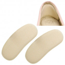 One Pair Sticky Spongy Heel Grips Insoles Inserts Shoe Pads - Beige