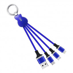 Key Chain Multi Charging Cable Portable Travel Short Cables Type C Micro USB and 8pin Charging Cable - Blue
