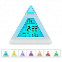 Color Changing LCD Alarm Clock Night Lights Thermometer Digital Desk Clock LED Lamp