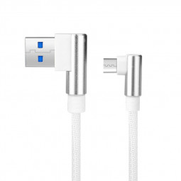 USB2.0 L Shape Double 90 Degree Elbow Braided Nylon Weaving Type C Charging Cable 1m - White