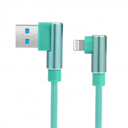 Durable L Shape Double 90 Degree Elbow Braided Connector Nylon Weaving 8pin Charging Cable 1m - Green