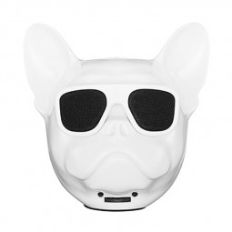 Bulldog Speaker Portable Wireless Bluetooth Cartoon Cute Speaker Support FM/TF Card - White