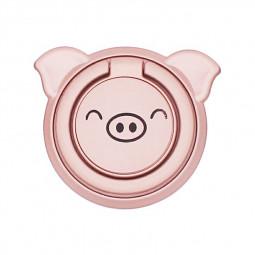 Cartoon Pig Phone Ring Holder Mobile Phone Finger Kickstand Metal Ring Grip - Pink