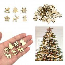 100pcs Wooden Cutout Embellishment Christmas Ornaments Snowflake Tree Trojan Deer DIY Handmade Decoration