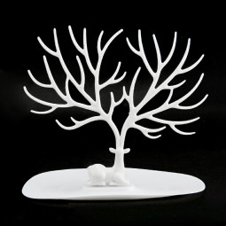 Creative Jewelry Tree Stand Display Organizer Ring Earring Necklace Holder Show Rack - White