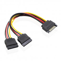 SATA 15 Pin Male to 2 x 15 Pin Female SATA 15 Pin 1 to 2 Power Extension Y Splitter Cable