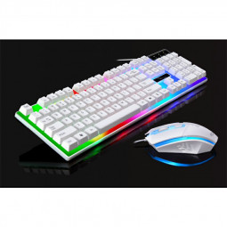 G21 Desktop LED Color Backlit Computer PC Keyboards USB Cable Wired Keyboard with Mouse - White