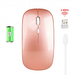 M80 2.4GHz Wireless 4-Keys 1600 DPI Adjustable Ergonomics Optical Vertical Mouse - Rose Gold