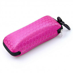 Rectangle Zipper Anti-Compression Sunglasses Eye Glasses Hard Case Eyewear Protector Box with Hook - Hot Pink