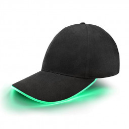 Black Baseball Cap Light Up Hat Sports Travel Party Club Cap with LED Light Brim - Green