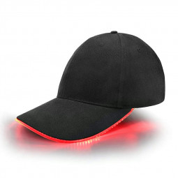 Black Baseball Cap Light Up Hat Sports Travel Party Club Cap with LED Light Brim - Red