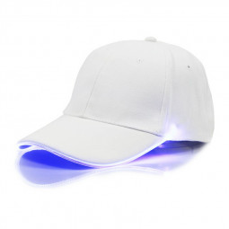 White Baseball Cap Light Up Hat Sports Travel Party Club Cap with LED Light Brim - Blue