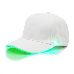 White Baseball Cap Light Up Hat Sports Travel Party Club Cap with LED Light Brim - Green