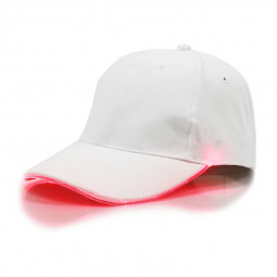 White Baseball Cap Light Up Hat Sports Travel Party Club Cap with LED Light Brim - Red