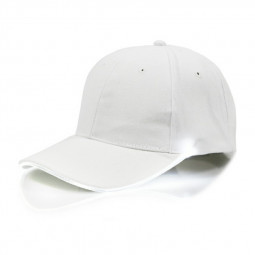 White Baseball Cap Light Up Hat Sports Travel Party Club Cap with LED Light Brim - White