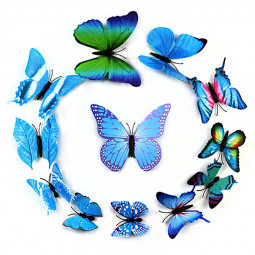 12 pcs Removeable 3D Butterfly Magnet Wall Stickers Creative Wall Decoration for Home Shop Party - Blue