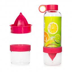 800ML Press Citrus Lemon Water Bottle Juice Fruit Infuser Filter Cup - Red