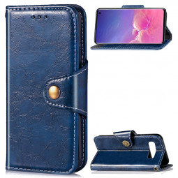 Wallet Flip Stand Cover Phone Case PU Leather Full Cover for Samsung Galaxy S10 - Blue