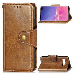 PU Leather Phone Case Wallet Flip Cover with Stand Function for Samsung Galaxy S10 Plus - Brown