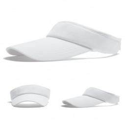 Womens Girls Sports Visor Adjustable Open Top Baseball Cap Sun Hat Summer Outdoor Hat - White
