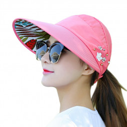 Adjustable Brimmed Sun Hat Summer Outdoor Travel Leisure Hats Foldable Anti UV for Women - Red