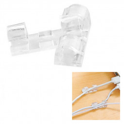 20pcs Self-adhesive Wire Retainer Clip Long Cord Wire Cable Plastic Clips - Clear