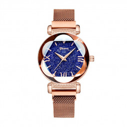 Women Female Milanese Roman Dial Stainless Steel Adjustable Fashion Quartz Watch - Rose Gold