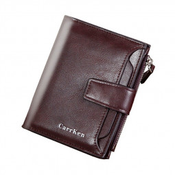 Zipper Type Leather Large Capacity Soft Wallet Coins Pocket Card Photo Holder Purse - Dark Brown