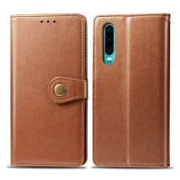 Magnetic PU Leather Wallet Card Case Cover Flip Stand Phone Case for Huawei P30 - Brown
