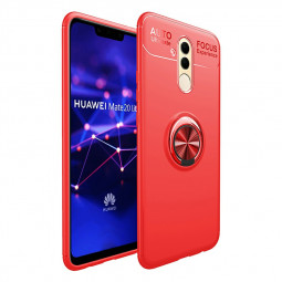 Bumper Soft Phone Case TPU Shockproof Cover with Metal Ring Stand for Huawei Mate 20 lite - Red