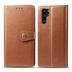 Wallet Card Case Cover Magnetic PU Leather Flip Stand Phone Case for Huawei P30 Pro - Brown