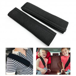 One Pair Car Safety Seat Belt Vehicle Harness Shoulder Pad Cover Protection - Black