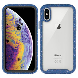 Hard PC Soft TPU Shockproof Case Cover with Shiny Frame for iPhone X/XS - Dark Blue
