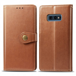 Magnetic Buckle PU Leather Wallet Case Cover with Stand Holder Function for Samsung Galaxy S10e - Brown
