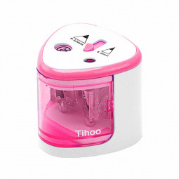 UK Electric Automatic 2 holes Pencil Sharpener Battery Operated School Stationery - Pink