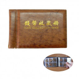 10 pages Coin Book Collection Penny Money Album 60 Coins Pocket Practical Coin Collection Tools - Brown