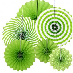 6 pcs Paper Hanging Fan Flowers Wedding Birthday Party Tissue Paper Table Garland Decor - Green