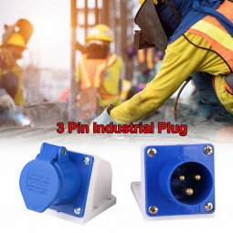 Blue 240V 16 AMP 3 Pin Industrial Site Plug Waterproof IP44 2P Male/Female Plug