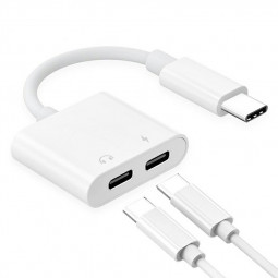Dual Audio and Charger Adapter Headphone Jack Adapter 2 in 1 Splitter USB C Audio Adapter