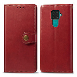 Magnetic Buckle Leather Wallet Card Case Cover with Flip Stand for HUAWEI Mate 30 Lite - Red