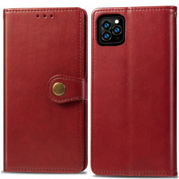 Leather Wallet Card Case Cover Flip Stand Case with Magnetic Buckle Closure for iPhone 11 Pro - Red