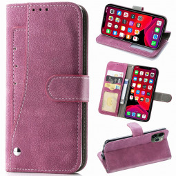 Faux Leather Wallet Card Case Soft TPU Case Cover Phone Protective Shell for iPhone 11 Pro - Hot Pink