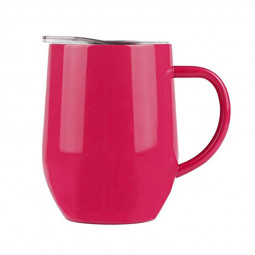 12oz Double Layer Vacuum Stainless Steel Egg Shaped Coffee Cup U Shaped Red Wine Mug with Handle - Red