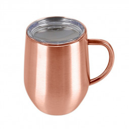 12oz Double Layer Vacuum Stainless Steel Egg Shaped Coffee Cup U Shaped Red Wine Mug with Handle - Rose Gold