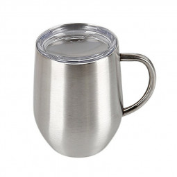 12oz Double Layer Vacuum Stainless Steel Egg Shaped Coffee Cup U Shaped Red Wine Mug with Handle - Silver