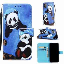 Magnetic Flip Stand Case Painted PU Leather Wallet Credit Card Case Rotary Cover for iPhone 11 Pro - Undersea Panda