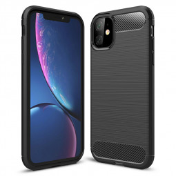 Ultra Thin Soft Silicone Bumper Case Carbon Fiber Phone Cover Back Case for iPhone 11 - Black
