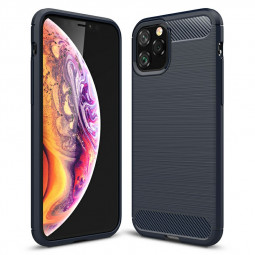 360 Degree Protective Silicone Bumper Case Carbon Fiber Phone Cover Mobile Phone Case for iPhone 11 Pro - Navy