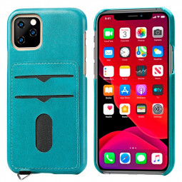 Shockproof Back Cover Leather Phone Case with Card Slot Protective Cellphone Case for iPhone 11 Pro - Blue